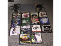 Retro Sony Playstation PS1. 2 controllers fully working. All leads and 14 games
