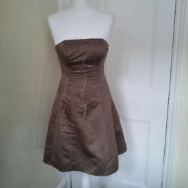 Satin and sequined strapless dress in mocha with lace underskirts UK size 6