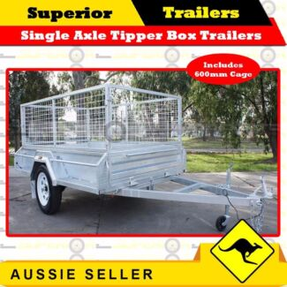 8x5 Single Axle Tipper Hot Dipped Galv Box Trailers with Cage Burleigh Heads Gold Coast South Preview