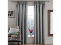 Dove Grey Lined Pencil Pleat curtains (pair) - 228 x 182cm