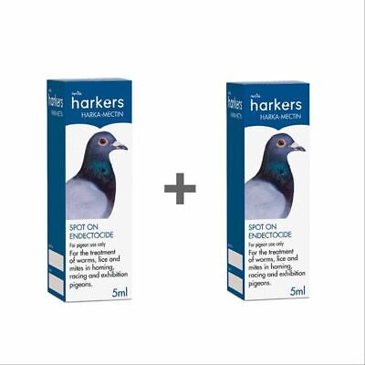 Harkers Harka Mectin Pigeon Wormer Lice Mites Worms  TWO x 5ml  DBL  BMFD