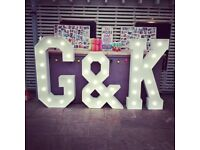 Hire our stunning 5ft Light Up Letters, £50 per letter