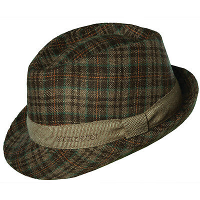 Golf Fedora (STETSON * MENS PLAID FEDORA HAT  L * NEW TRILBY LITE WINTER DRESS GOLF SUN SHADY)