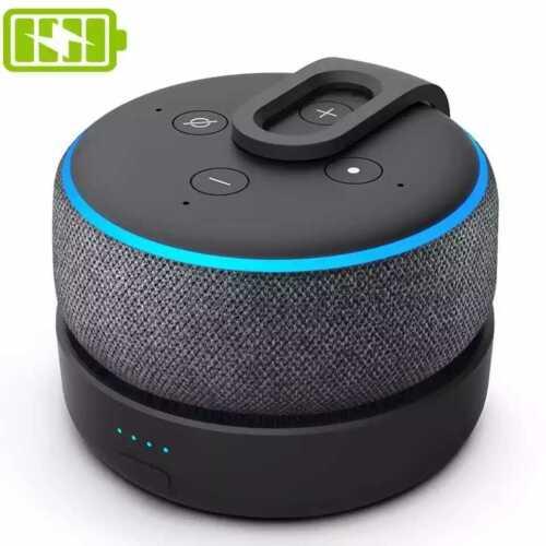 Portable Battery Base for Echo Dot 3 Gen Speaker Mount Stand Power Bank 5200mAh