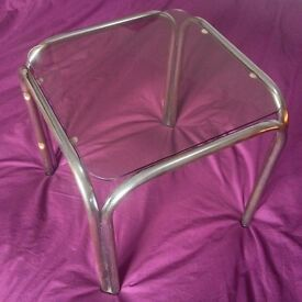 """Vintage Glass Topped Coffee / Side Table / 14"""" Square"""
