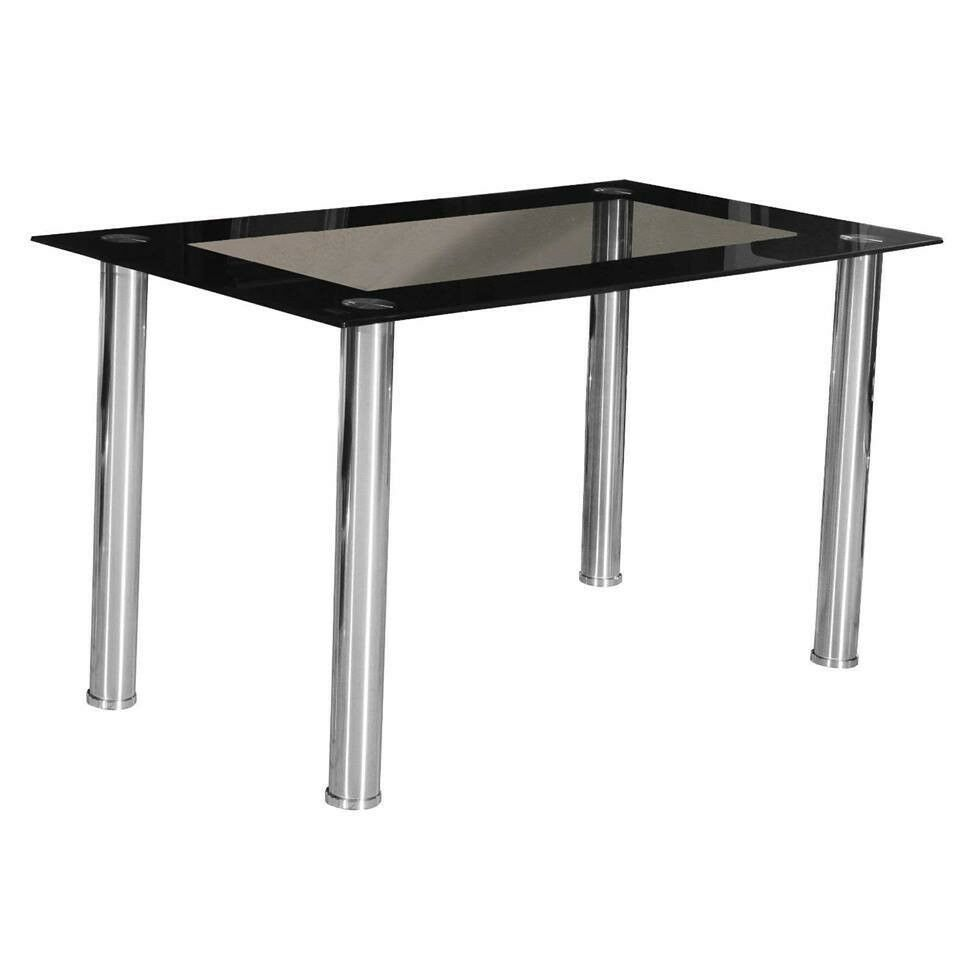 Black glass dining table clear glass top with black edges table only