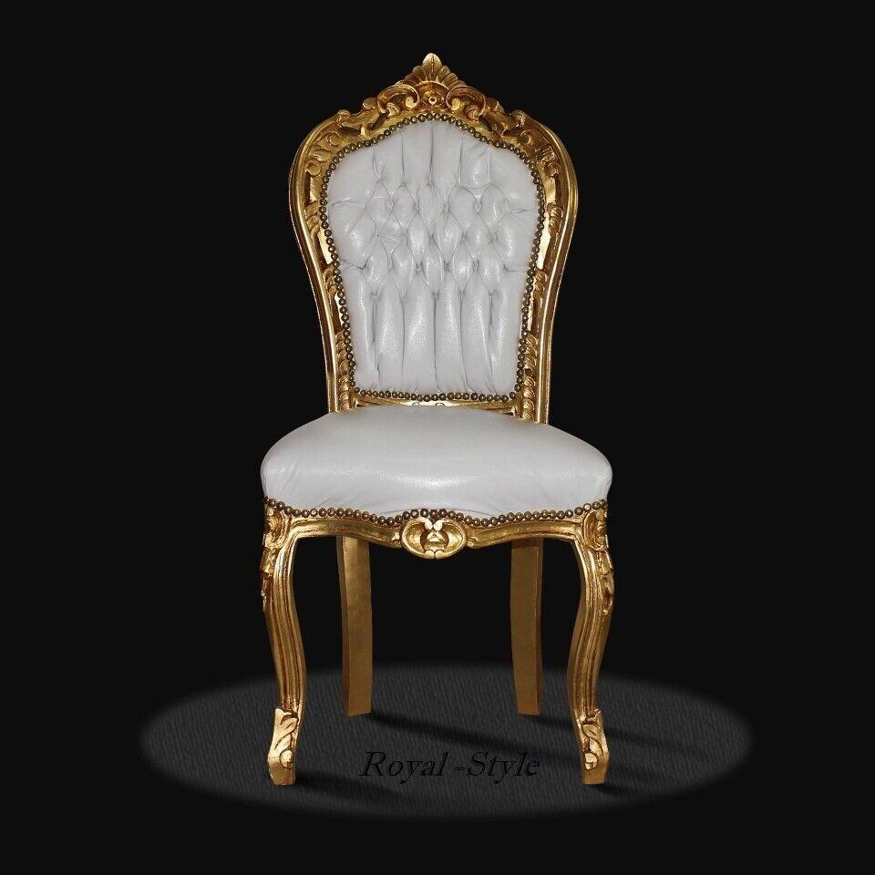 Esszimmerstuhl Kolonialstil Mahagoni Luxus Stuhl Leder