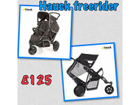 BRAND NEW IN BOX HAUCK FREERIDER TANDEM DOUBLE OR SINGLE PRAM PUSHCHAIR BLACK GREY FROM BIRTH