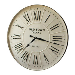 Metal 27 Inch White Enamel Finish Roman Numeral Old Town Wall Clock