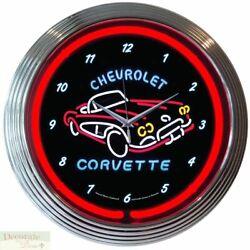 CORVETTE C1 Genuine Neon 15 Wall Clock Glass Face Chrome Finish US Warranty New