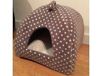 Grey/Cream Spot Igloo Cat Bed