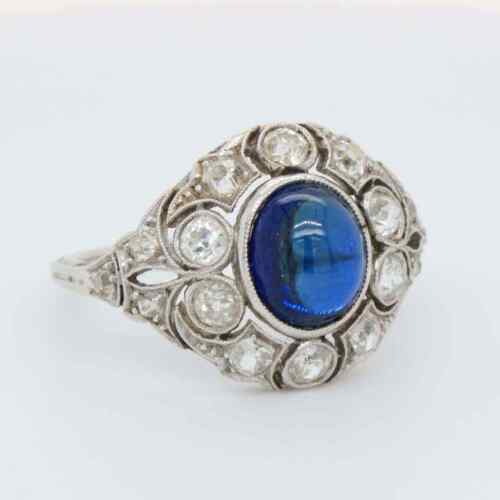 Unique Cabochon Shape Blue 2.53CT Sapphire With Old White CZ Art Deco Fine Ring