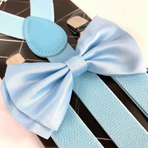 Baby Blue Suspender And Bow Tie Set Tuxedo Wedding Formal Accessory
