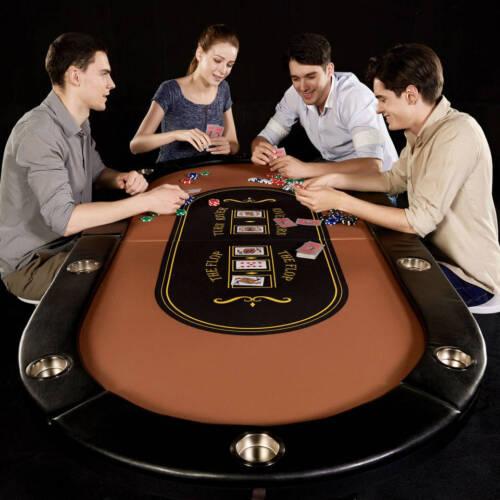 10 Players Folding Barrington Poker Table Large Texas Holdem Casino Cup Holders