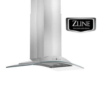 "36"" ZLINE NEW STAINLESS STEEL ISLAND RANGE HOOD W/ GLASS GL9i-36"