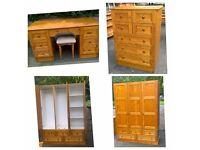 Bedroom furniture, Wardrobe, dressing table, tallboy, bedside cabinet