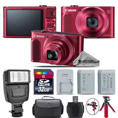 Canon PowerShot SX620 HS RED Digital Camera + Extra Battery + Flash - 32GB Kit ()