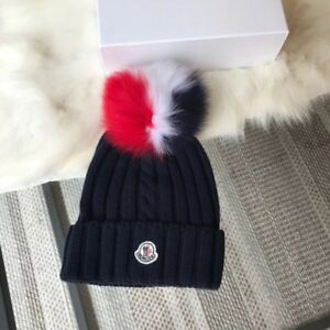 Moncler Genuine Fox Fur Pom Wool Hat