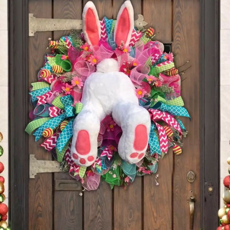 Easter Thief Bunny Butt Wreath Colorful