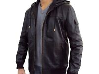 Men's Lambskin Leather Rib Knitted Fixed Hoodie Jacket Black Large Size