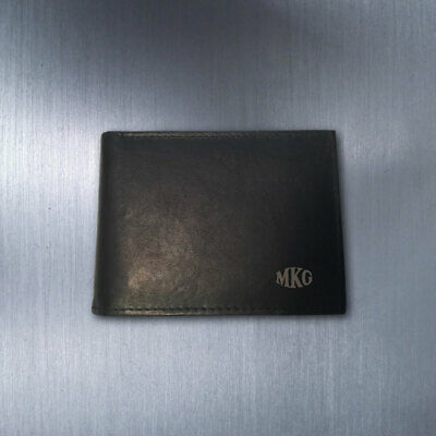 Personalized Monogram Genuine Leather Bi-fold Wallet - Black- Engraved In USA