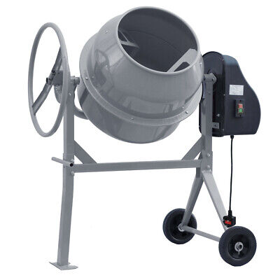 Grey Electric Cement Mixer 140L Mortar Plaster Concrete Drum with Stand & Wheels