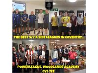 5/7 a side football leagues from £29.50 per game!