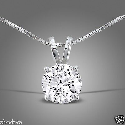 2.5 CT ROUND CUT 14K WHITE GOLD SOLITAIRE PENDANT BOX CHAIN NECKLACE + 18