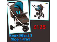 BRAND NEW HAUCK 2 IN 1 MIAMI 3 TRAVEL SYSTEM IN COFFEE CAPRI PRAM PUSHCHAIR CAR SEAT RAINCOVER ��125.