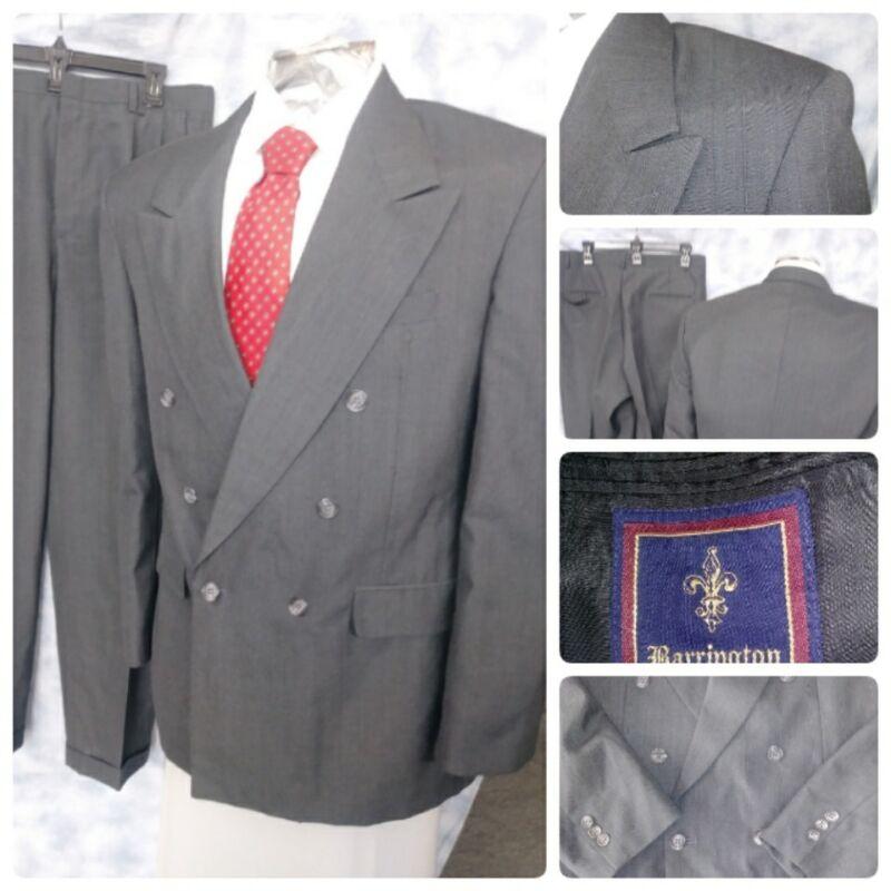 VTG Barrington 40R Suit Grey Striped Peak Lapel Jacket 32 X 29 Pants 2PC Mens
