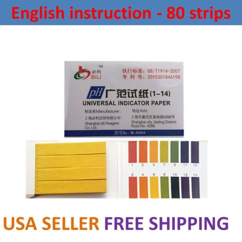 80x pH Test Strips Litmus Paper 1-14 Alkaline Urine Saliva Acid Soil USA English