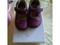 Girls Clarks shoes size 3.5