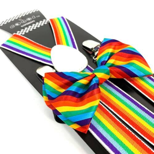 Rainbow Colorful Suspender And Bow Tie Set Tuxedo Wedding Formal Accessory