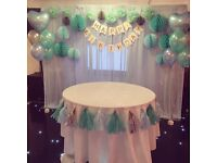 20% OFF BALLOONS / FLOWER WALL / BACKDROPS / CHAIR COVERS / TABLE CLOTHS/ NAPKINS / CENTERPIECES