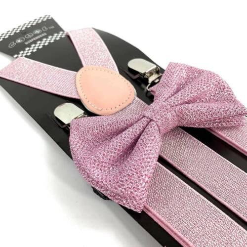 New Wedding Pink Glitter Suspenders Shiny Bow Tie Set Classic Tuxedo Combo Set