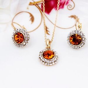 Women Orange and white Zirconia Round gold plated Pendant earrings set Hawthorn East Boroondara Area Preview