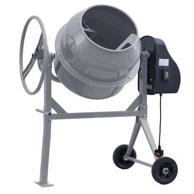 Professional 140 Litres Grey Electric Cement Mixer Mortar Plaster Concrete Drum