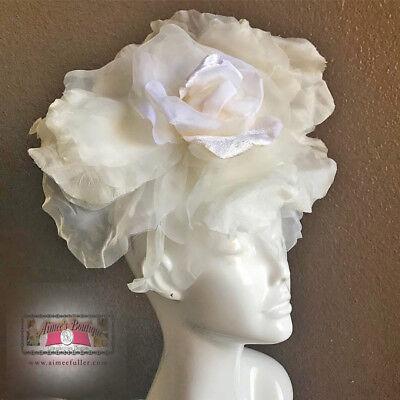 Royal Ascot Tocado Boda Novia Boda Blanco Roto Flor Kentucky Derby Sombrero