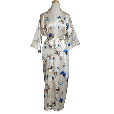 Kimono Satin  Butterfly Robes Wedding Bride Bridesmaid Long Bathrobe 3/4 Sleeve