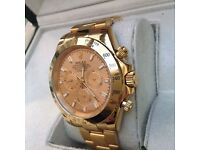 New Boxed gold dial and gold bracelet rolex daytona fathers day deal automatic with sweeping seconds