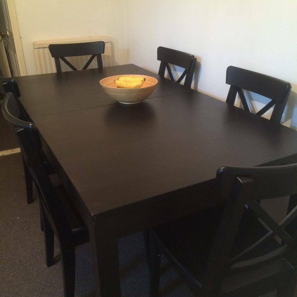 Ikea ingolf ingatorp dining chairs x 6 and ikea bjursta for Black dining table
