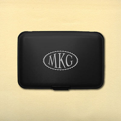 Personalized Monogram Aluminum Rfid Credit Card Wallet   Black   Engraved In Usa