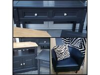 grey solid wood storage tv unit,2 drawer console-sideboard-hall table,lamp/side table & arm chair