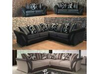 -- NEW SHANNON CHENILLE FABRIC CORNER SOFA OR 3+2 SOFA SET -- AVAILABLE NOW IN STOCK