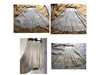 Roberto Cavalli Ivory Silk & Cotton Skirt size 6US-10UK