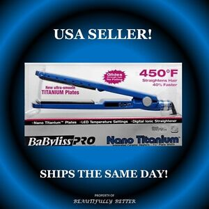 ★NEW★BABYLISS PRO NANO TITANIUM★BLUE★1 1/4 1.25★LED★HAIR STRAIGHTENER/FLAT IRON★