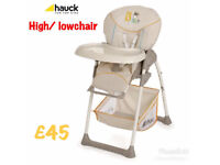 BRAND NEW HAUCK UP N DOWN HIGH LOW CHAIR IN NEUTRAL COLOURS BEAR DESIGN BIRTH TO 15KG £45