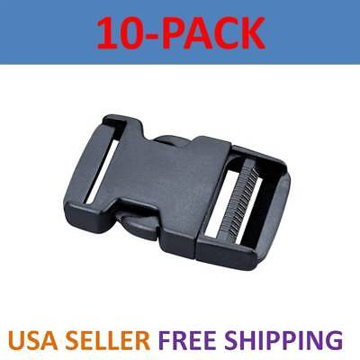 10X 1 1/4 inch Plastic Black Strap Webbing Side Release Buckle Clasp Craft 3cm  ()