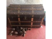antique metal strapped domed lid treasure chest