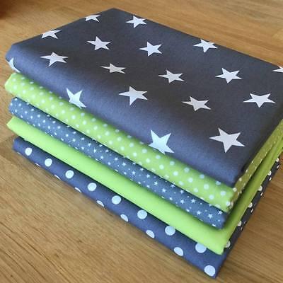 Blenders fabric APPLE GREEN & GREY Fat Quarter Bundle 100% cotton STARS, SPOTS